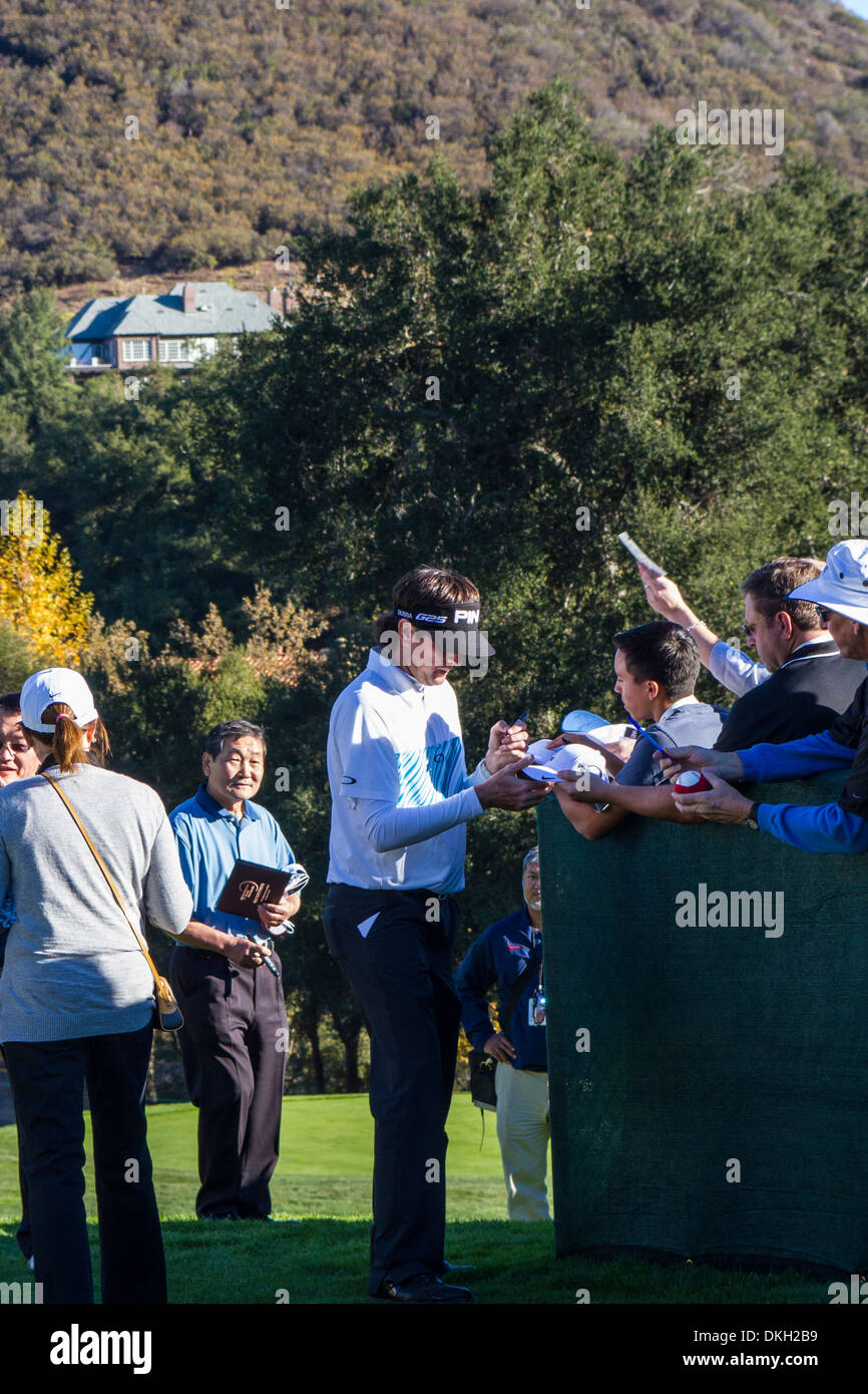 Bubba Watson signing autographs at the 2013 Northwestern Mutual Challenge at Sherwood Country Club In Thousand Oaks California - Stock Image