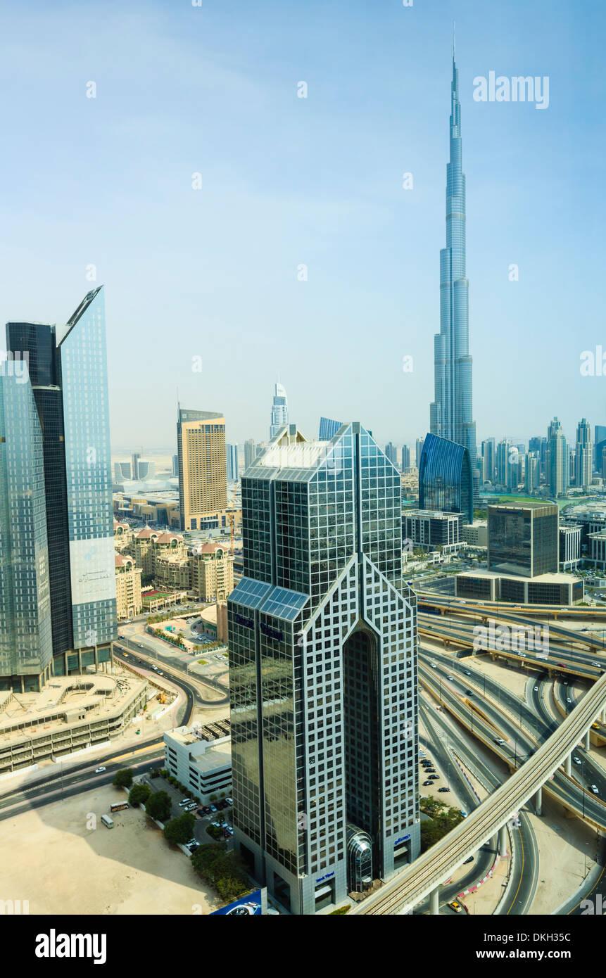 Cityscape and Burj Khalifa, Dubai, United Arab Emirates, Middle East - Stock Image