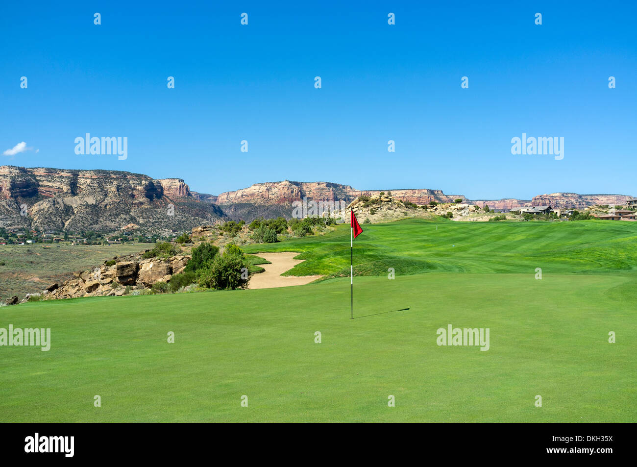 Fourth green and fairway at Redlands Mesa Golf Club, Grand Junction, Colorado, USA , Course plays into the Colorado desert - Stock Image