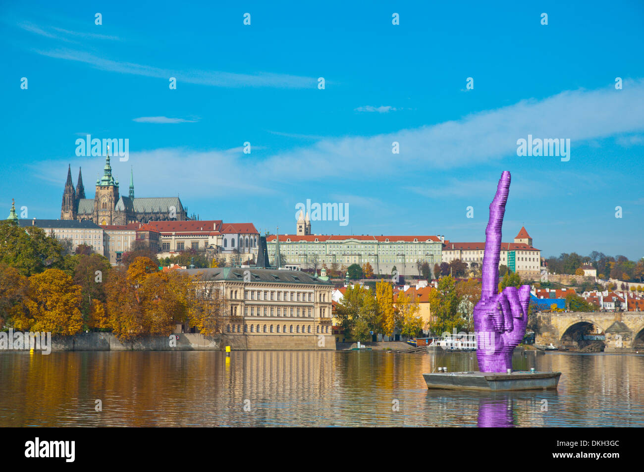 David Cerny's temporary sculpture middle finger pointing at the castle Prague, Czech Republic, Europe - Stock Image
