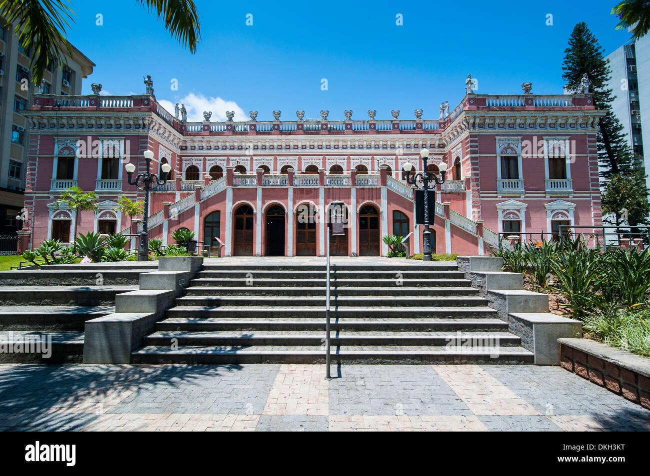 Pink Cruz e Sousa palace in Florianopolis, Santa Catarina State, Brazil, South America - Stock Image