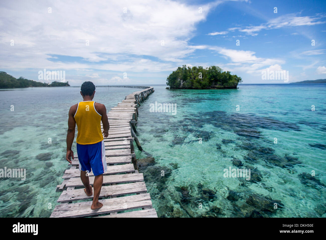Long bridge, Togian Islands, Sulawesi, Indonesia, Southeast Asia, Asia - Stock Image