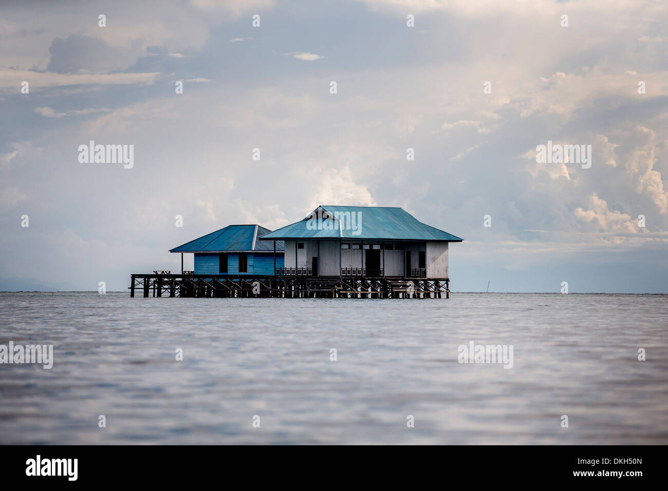 A house over the ocean, Togian Islands, Sulawesi, Indonesia, Southeast Asia, Asia Stock Photo