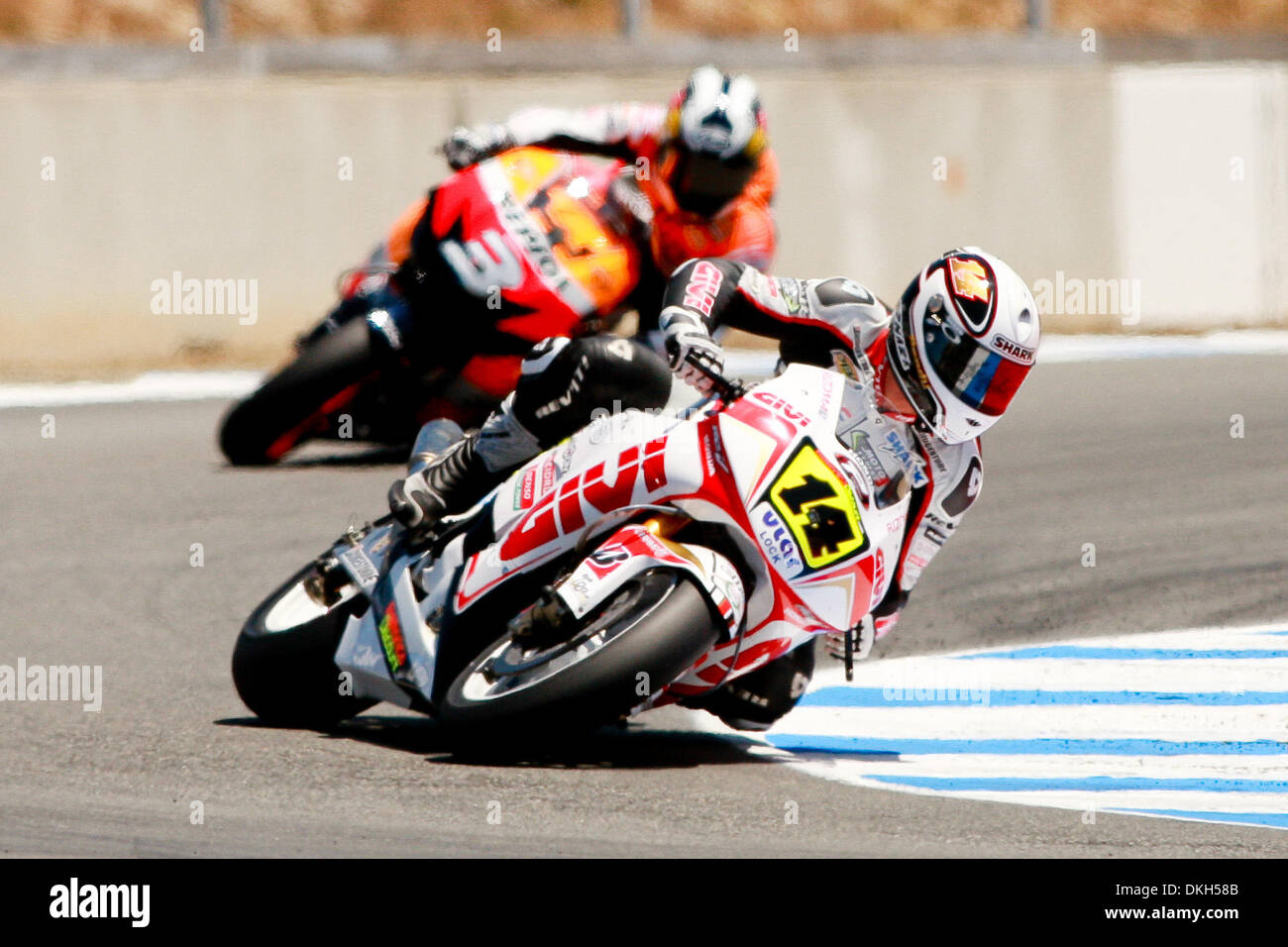 Randy De Puniet, of Maisons-Laffitte, France, rides the #14 motorcycle for the LCR Honda MotoGP team and Dani Perdosa,Stock Photo