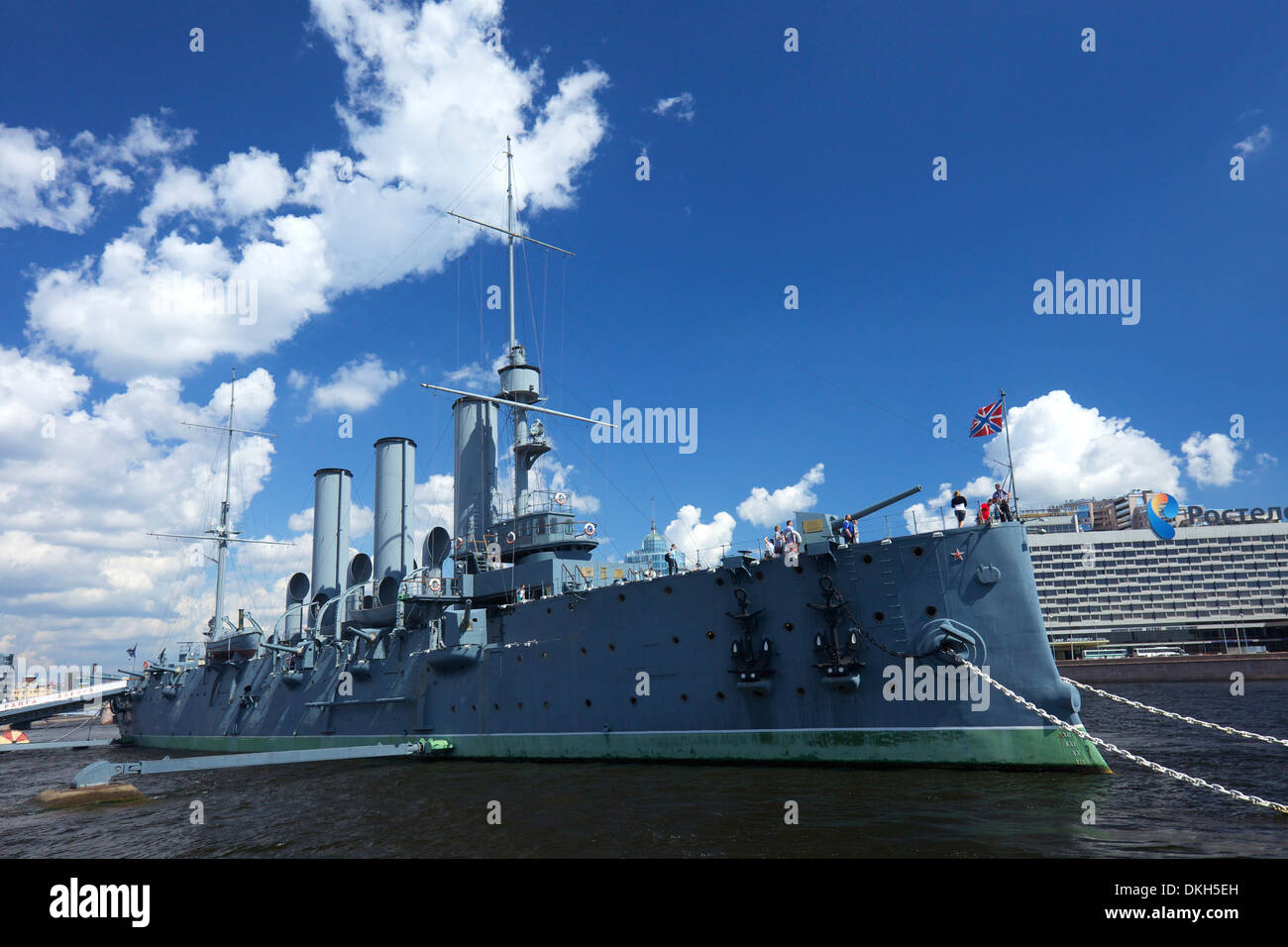 Aurora Cruiser on River Neva, Naval Academy, St. Petersburg, Russia, Europe - Stock Image