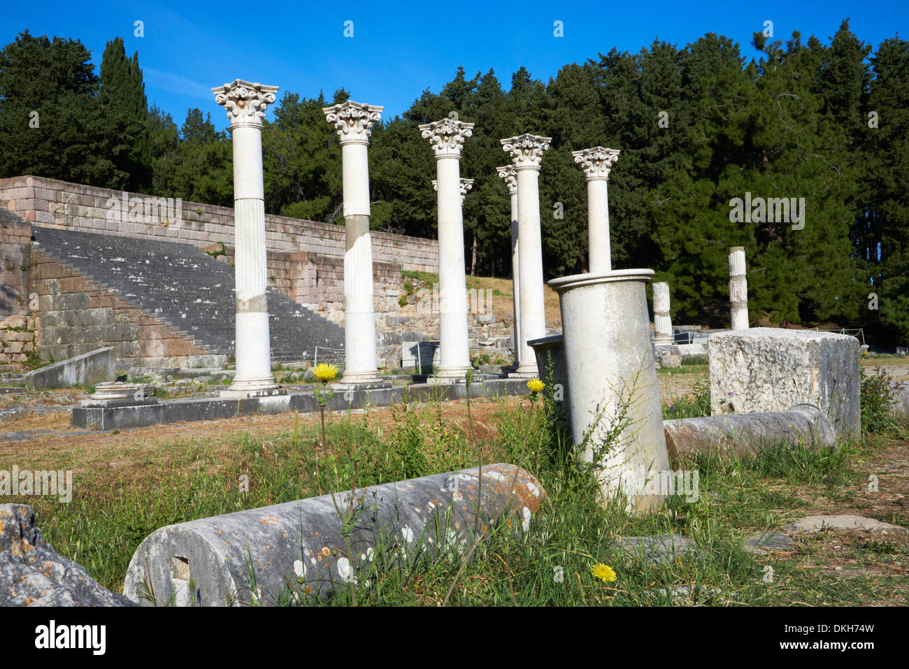 Columns in the ancient Greek city of Asklepieion, Kos, Dodecanese, Greek Islands, Greece, Europe - Stock Image
