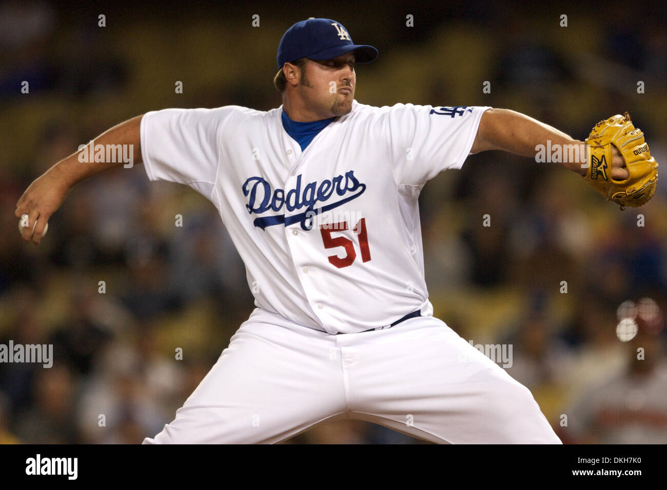 Los Angeles Dodger Relief Pitcher Jonathan Broxton earned the save and was one of four Dodger pitchers that combined to pitch a shut out versus the Arizona Diamondbacks (Credit Image: © Tony Leon/Southcreek Global/ZUMApress.com) - Stock Image