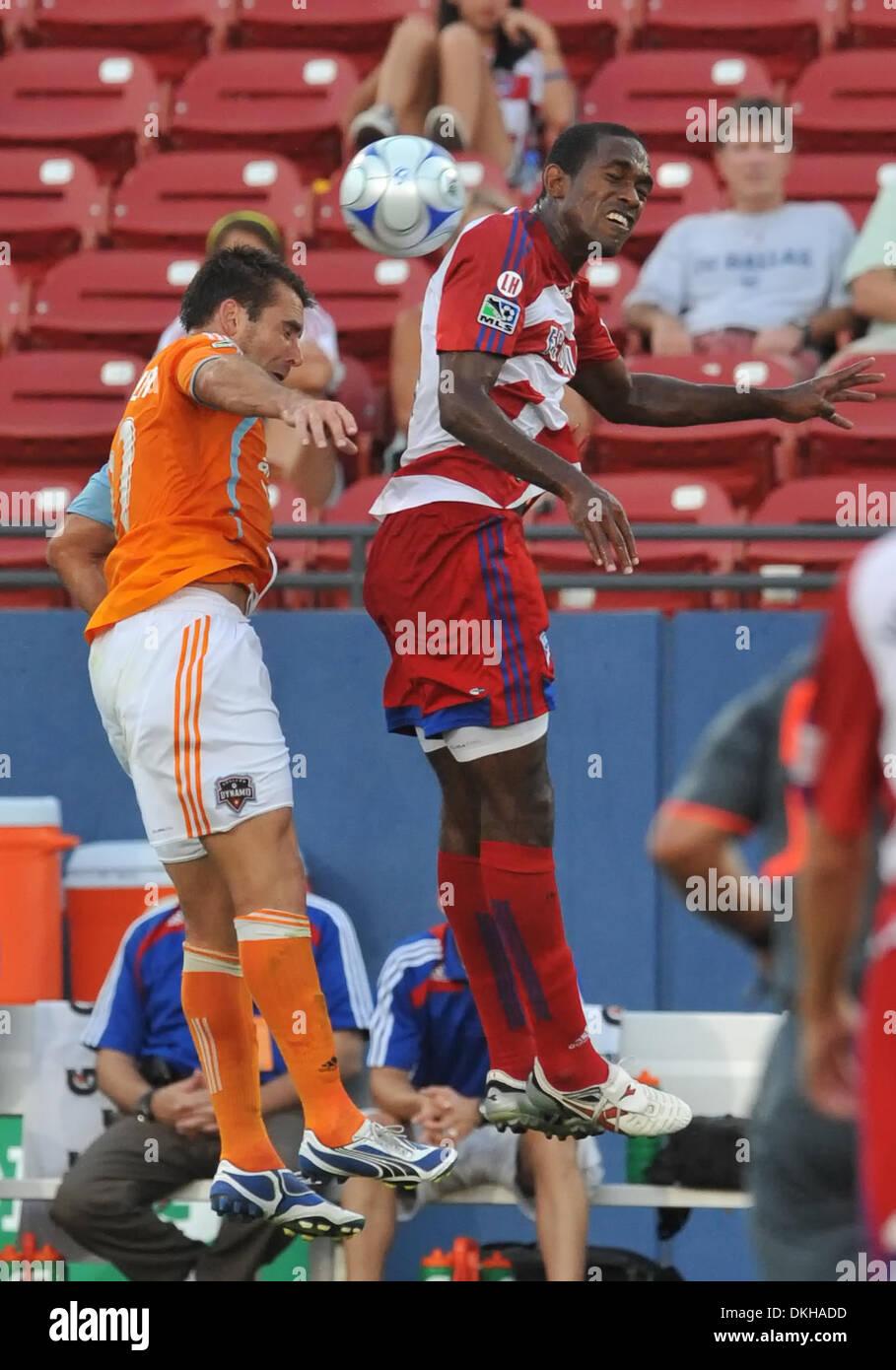 FC Dallas Midfielder Atiba Harris wins the ball over Dynamo Brian Ching as FC Dallas wins 1-0. (Credit Image: © - Stock Image