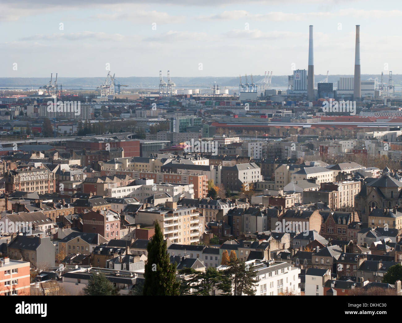NORMANDY, FRANCE. A view over the city of Le Havre, with the industrialised Seine estuary in the distance. 2013. - Stock Image
