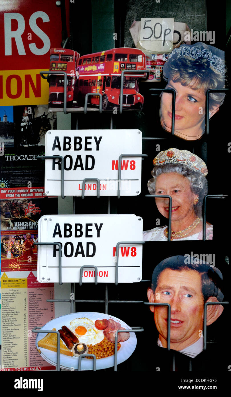London, England, UK. Souvenirs - postcards of the Royal family and street signs - Stock Image