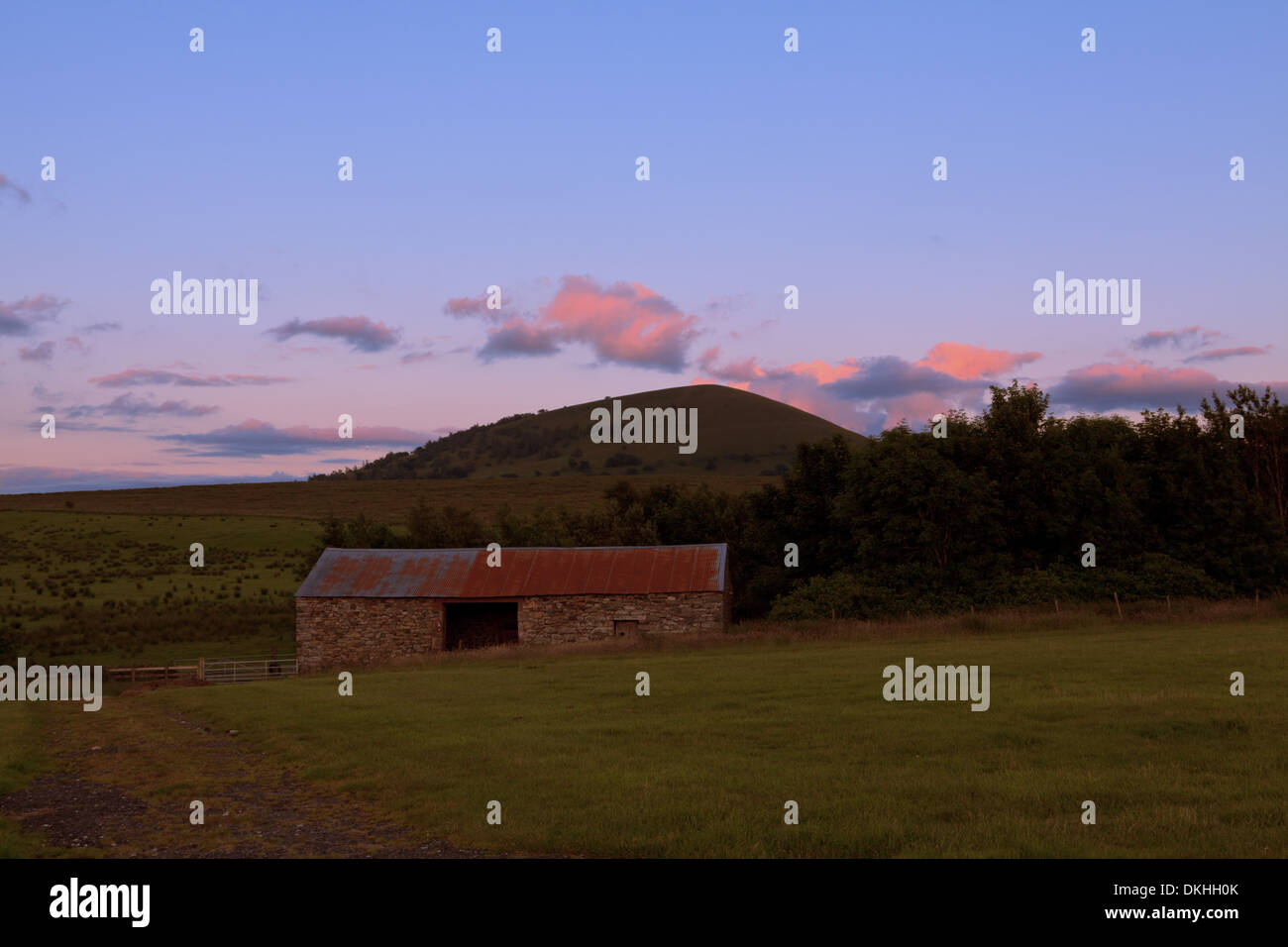 Scenic landscape view in romantic evening light, Troutbeck, Lake District area, Cumbria, England, Great Britain, United Kingdom. - Stock Image