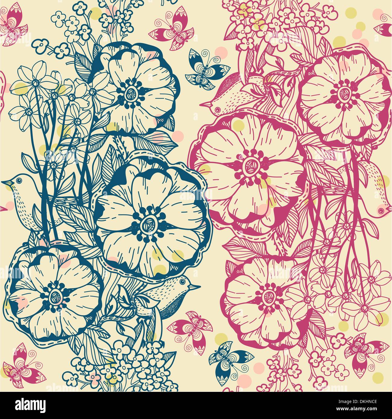 vector floral seamless pattern - Stock Image