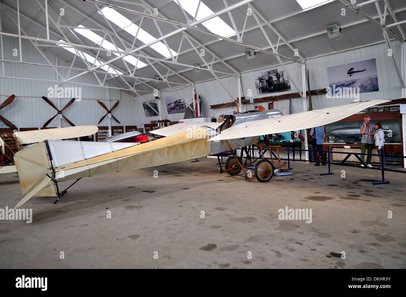 Blackburn type D monoplane in the hanger.Owned by the Shuttleworth collection.Britain's oldest airworthy aircraft.Built in 1912. - Stock Image