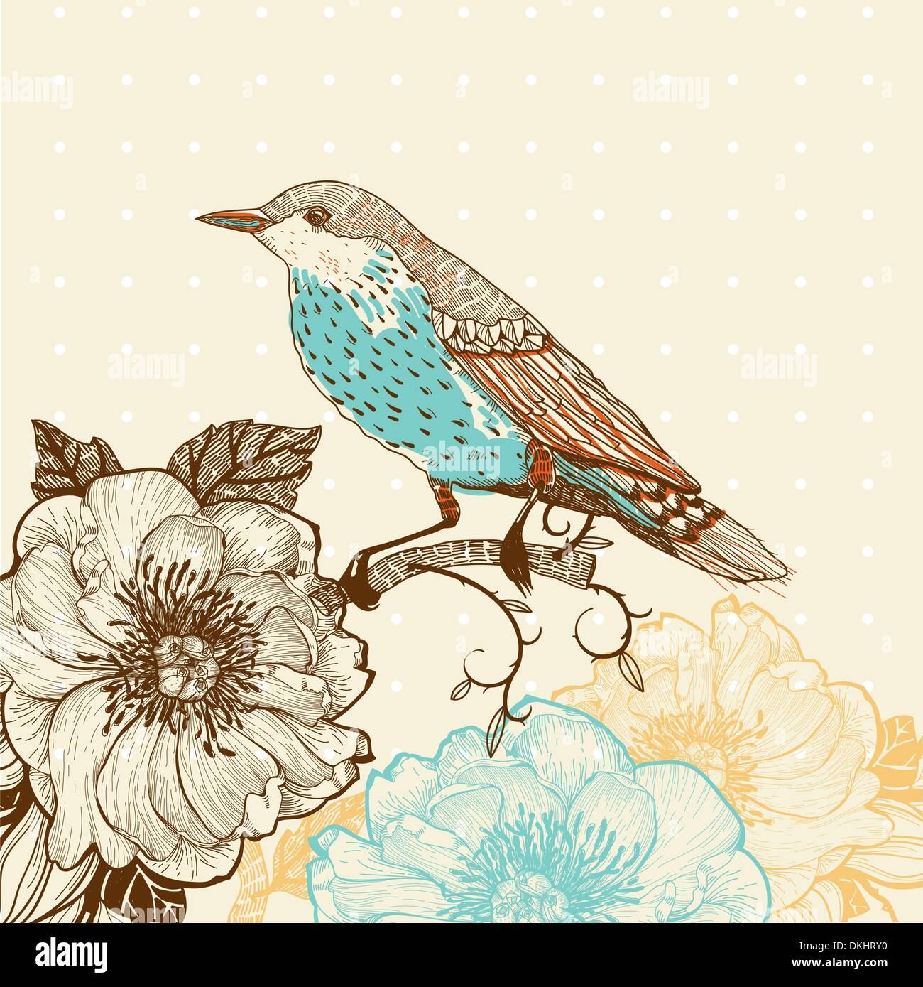 vector illustration of a bird and blooming flowers in a vintage style - Stock Image