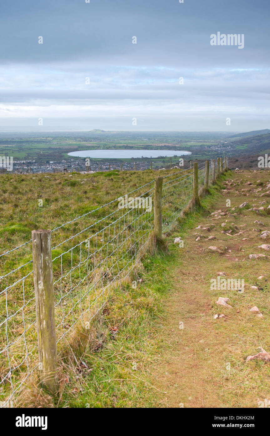 View from Cheddar Gorge, Somerset, to Cheddar Reservoir, Brent Knoll and the Bristol Channel - Stock Image