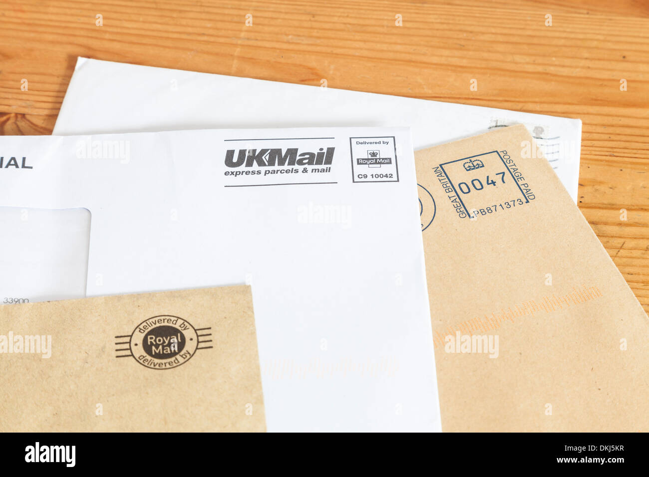 Unopened post delivered by the Royal Mail - Stock Image