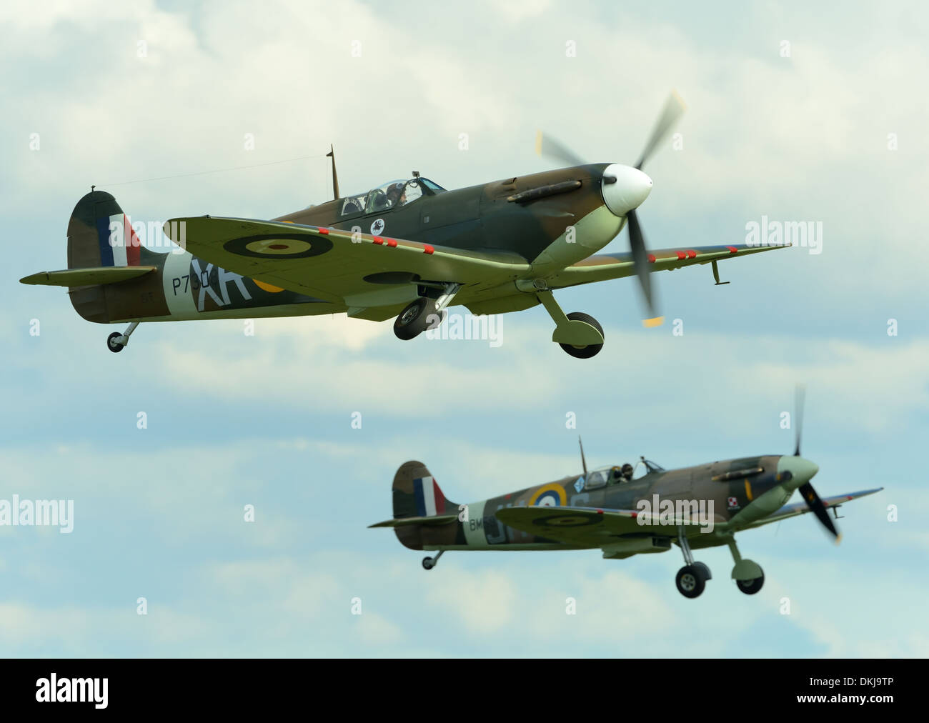 Pair of Supermarine spitfires taking off at Duxford air show UK.September 2012 - Stock Image