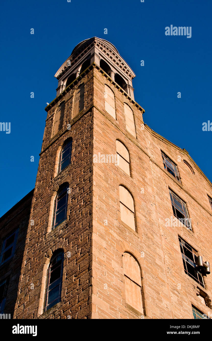 The 1800`s Jute Mill with bell tower once owned by the Baxter Brothers and where Mary Slessor worked in Dundee, UK - Stock Image