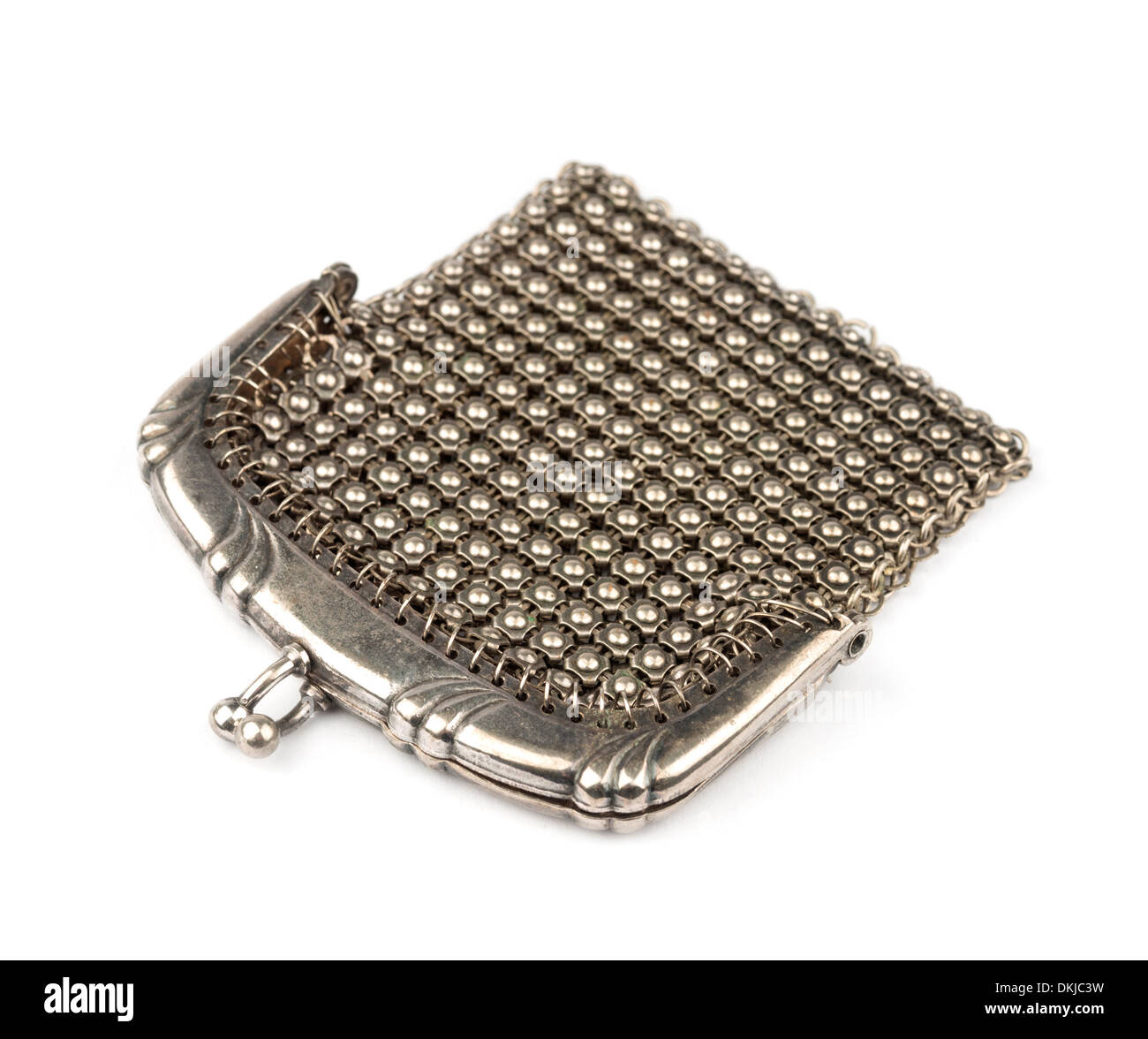 Silver mesh coin purse - Stock Image