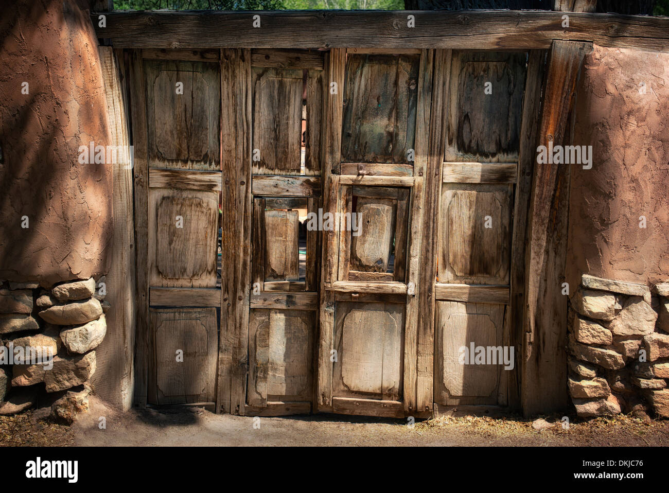 Door to house in Santa Fe, New Mexico - Stock Image
