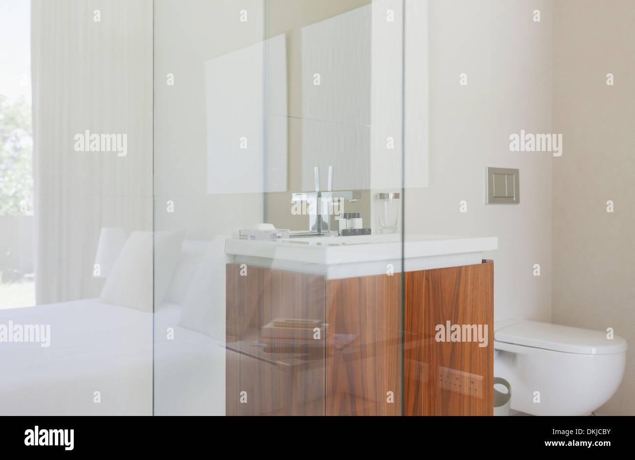 Glass walls of modern bathroom - Stock Image