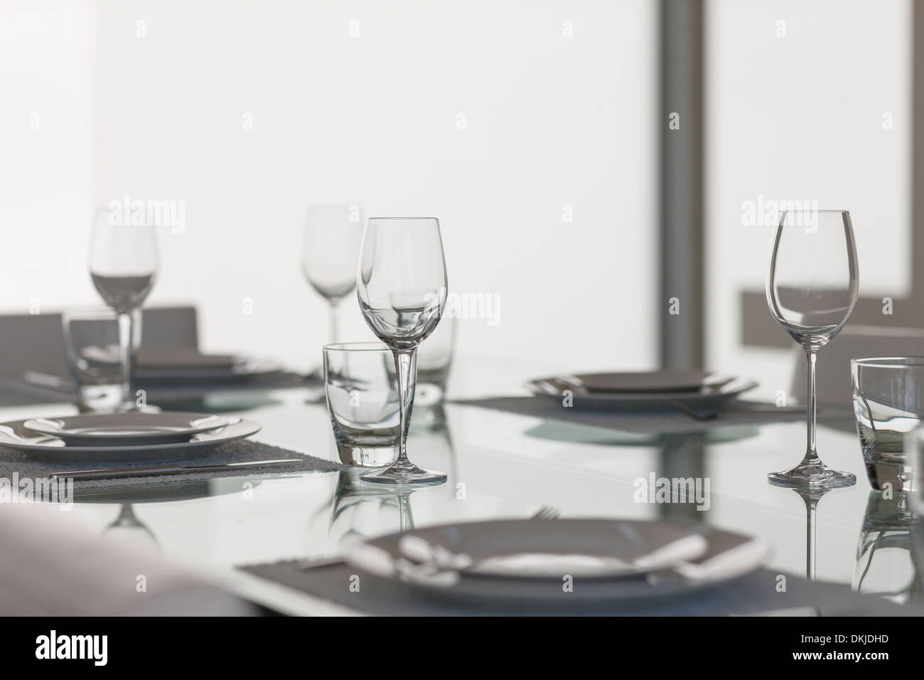 Set table in dining room - Stock Image
