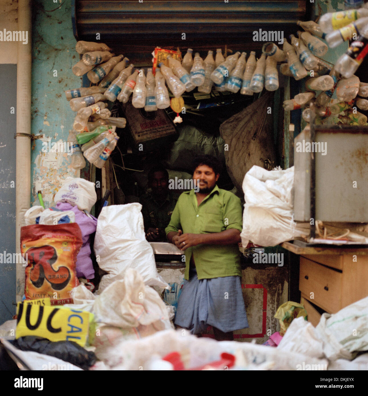 Plastic recycler in Chennai Madras in Tamil Nadu in East india in South Asia. Recycle Recycling Environment Green Shop Service Work Lifestyle Travel - Stock Image