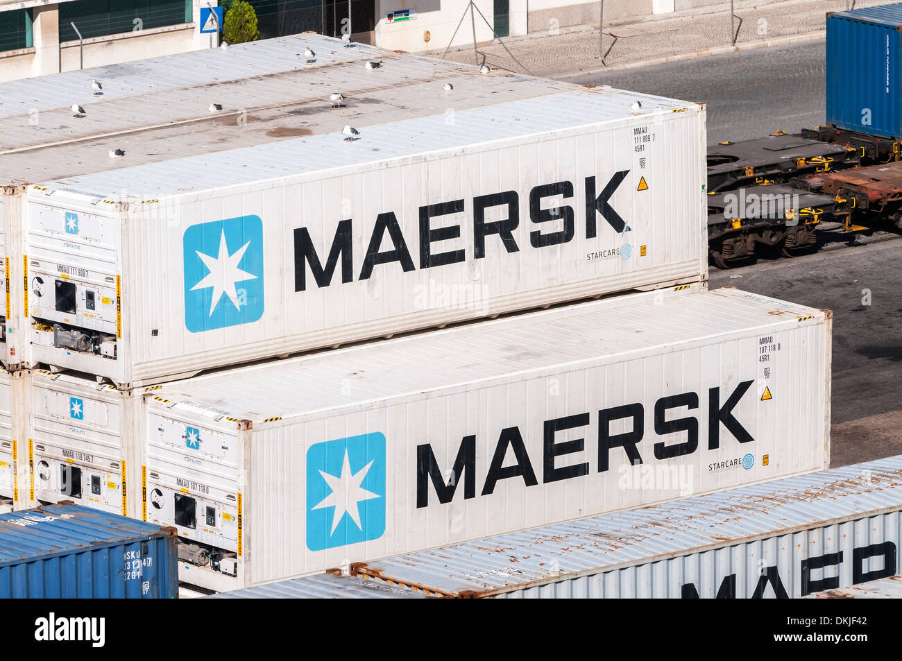 Shipping Container at the Dock - Maersk - Stock Image