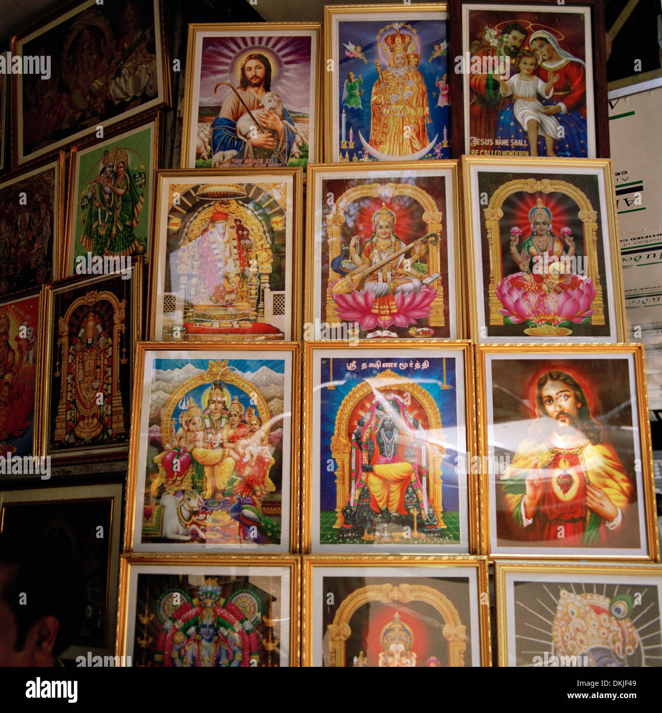 Religious kitsch shop in Chennai Madras in Tamil Nadu in India in South Asia. Business Retail Shops Religion Art - Stock Image