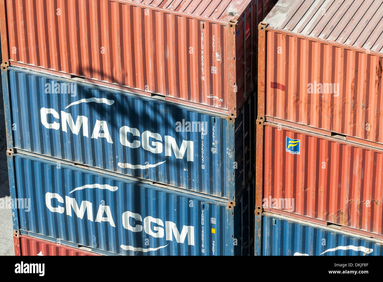 Shipping Container at the Dock - CMA CGM - Stock Image