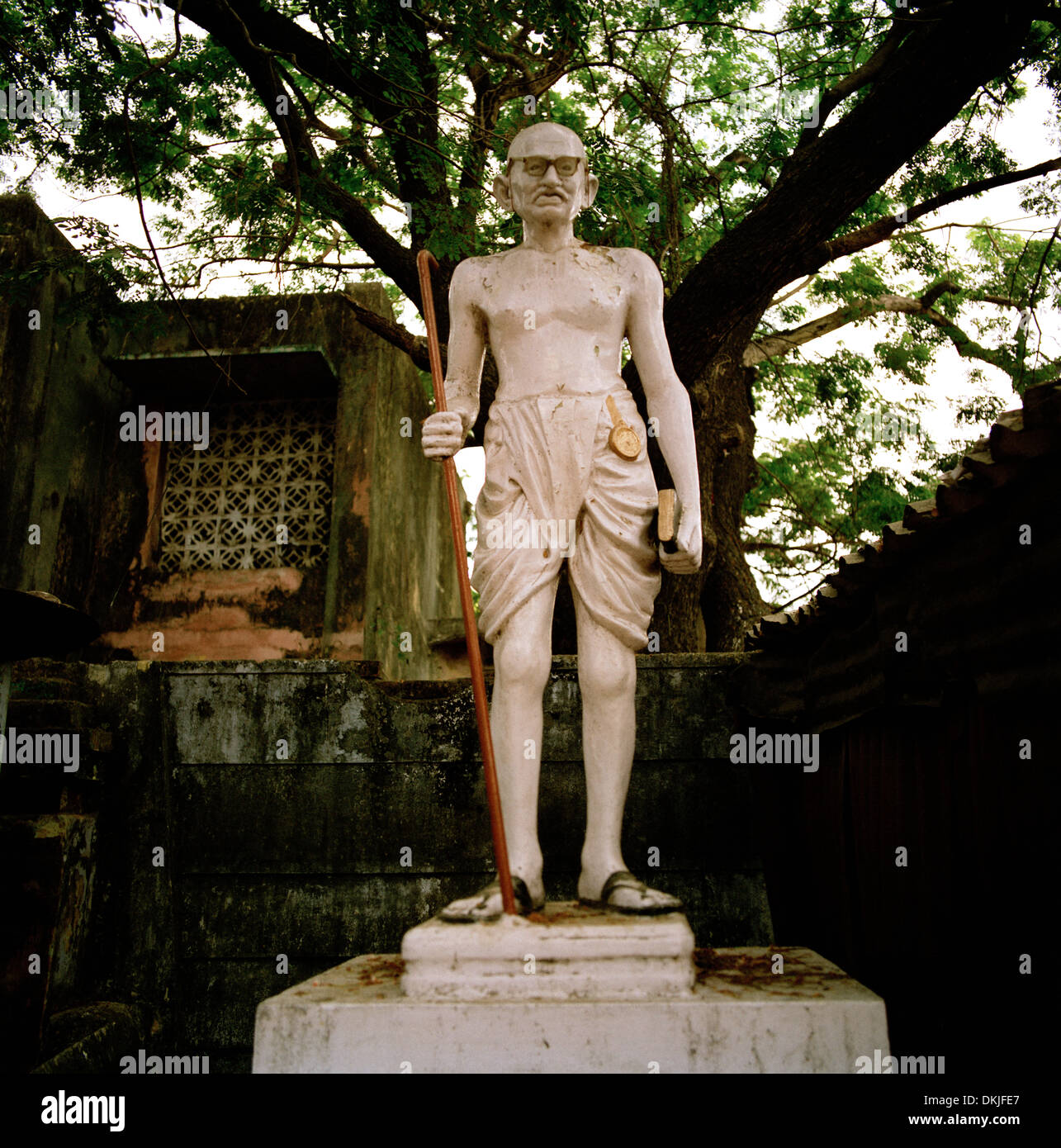Mahatma Gandhi in Chennai Madras in Tamil Nadu in East india in South Asia. Carving Art Hero Heroes Independence Indian History Sculpture Man Travel - Stock Image