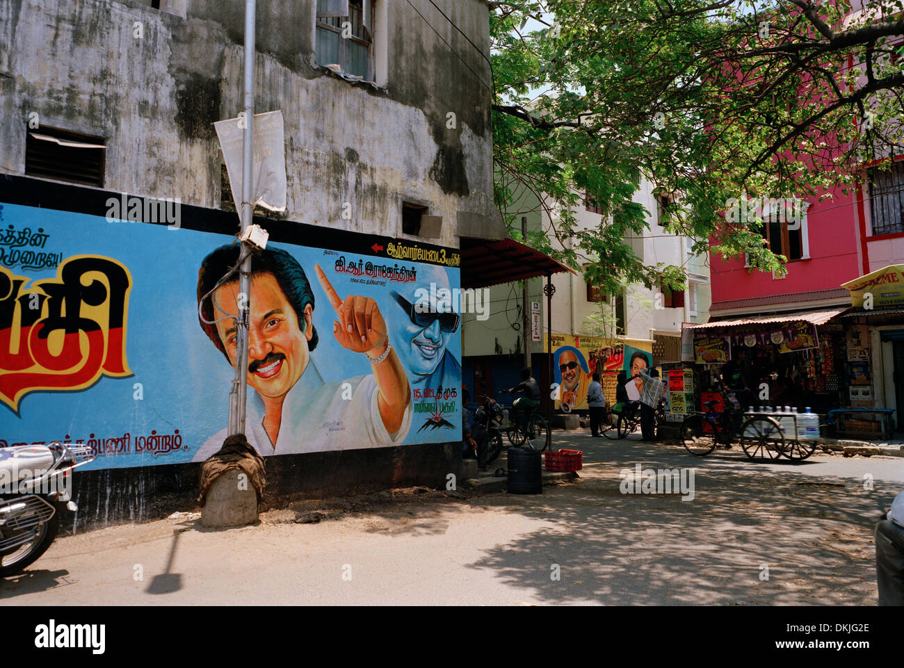 Political advertising in Chennai Madras in Tamil Nadu in East india in South Asia. Politics Politician Man Men Propaganda Life Lifestyle Icon Travel - Stock Image
