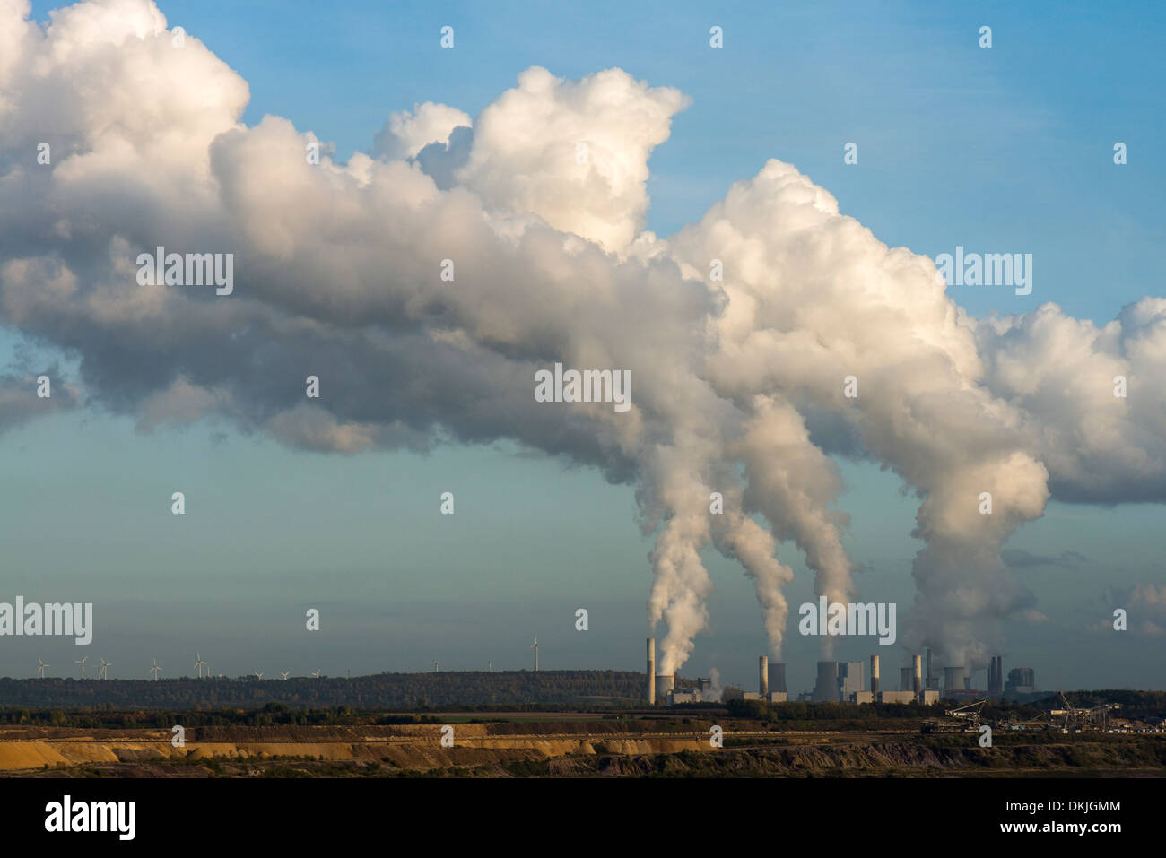 Brown coal opencast mining Garzweiler near Juechen coal power stations Frimmersdorf, North Rhine-Westphalia, Germany, Europe - Stock Image
