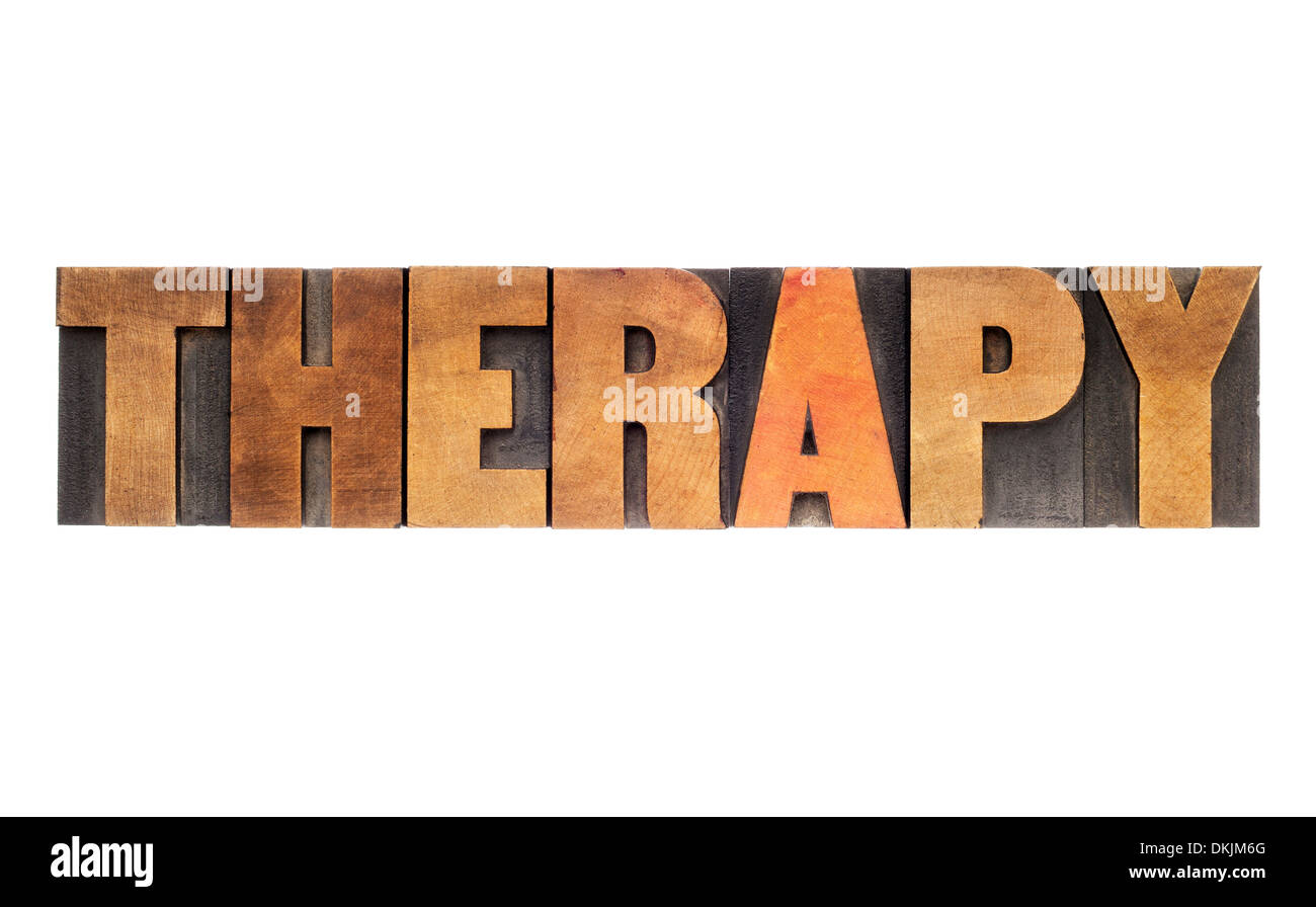 therapy word - isolated text in letterpress wood type - Stock Image