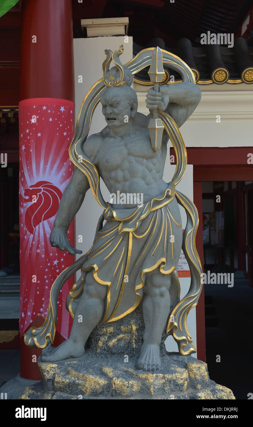 Steinfigur, Buddha Tooth Relic Temple, South Bridge Road, Singapur Stock Photo