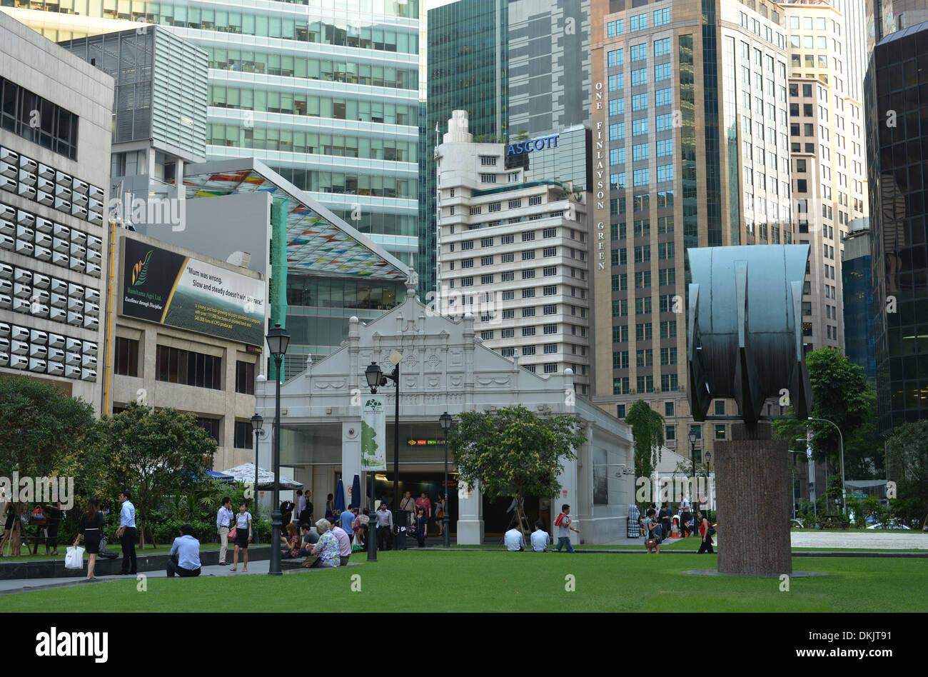 Geschaeftsviertel, Raffles Place, Singapur / Geschäftsviertel - Stock Image
