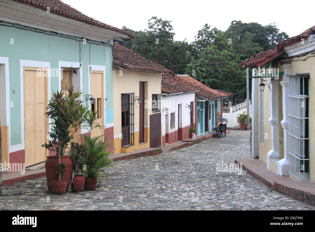 Calle Llano, Sancti Spiritus, Sancti Spiritus province, Cuba, Caribbean Sea, Central America - Stock Image