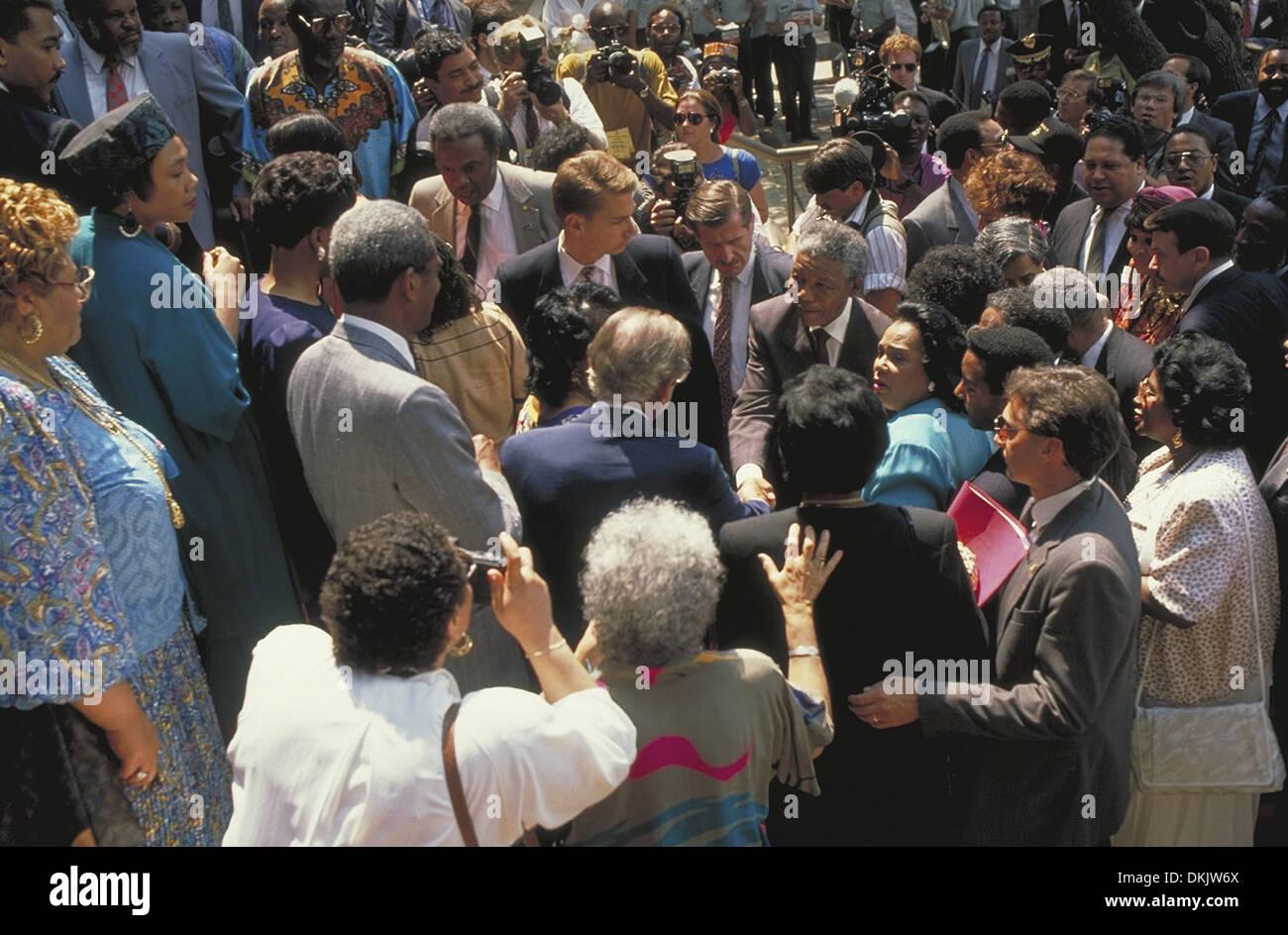 Nelson Mandela arrives at the Martin Luther King Jr. Center in Atlanta Georgia - Stock Image