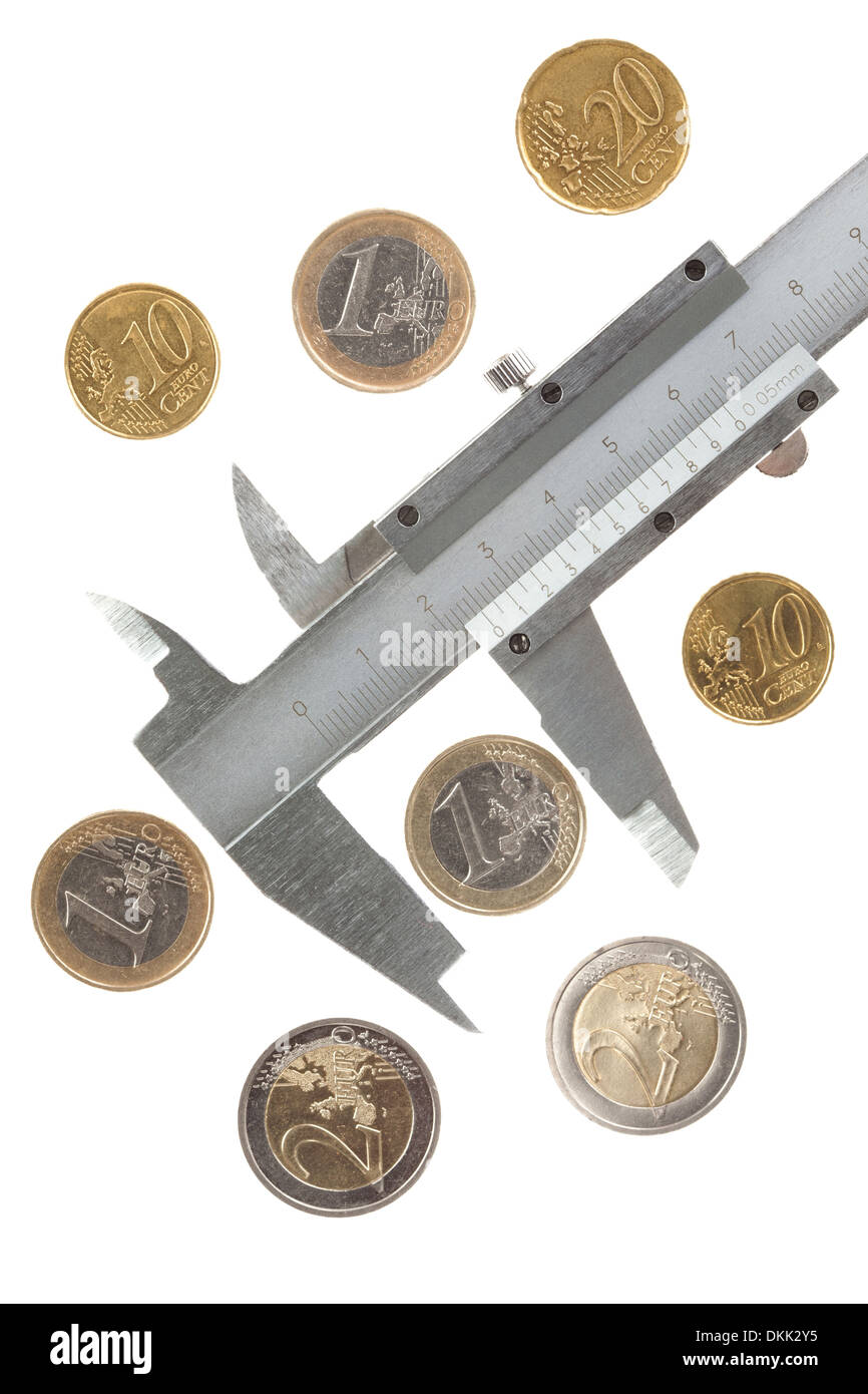 Euro coins and caliper, isolated - Stock Image
