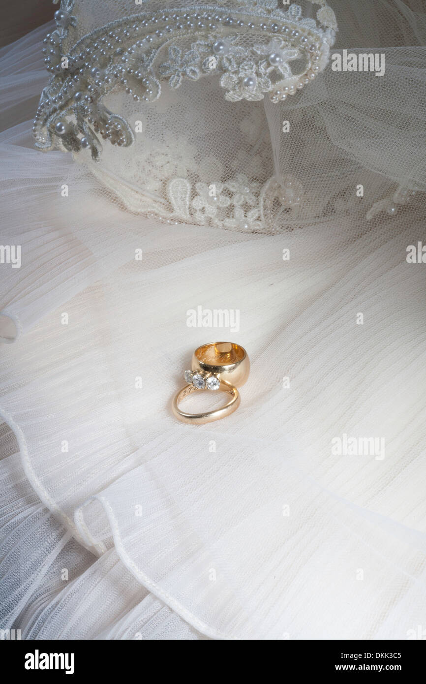 Vintage Wedding Dress And Rings Still Life 1980s Stock Photo