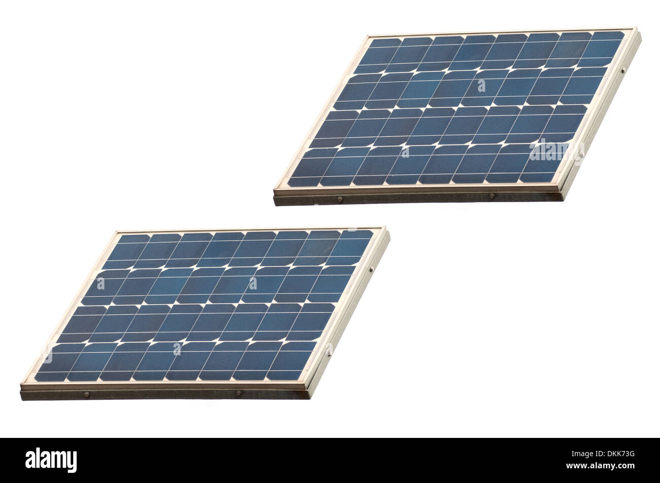 Solar panels isolated on white - Stock Image