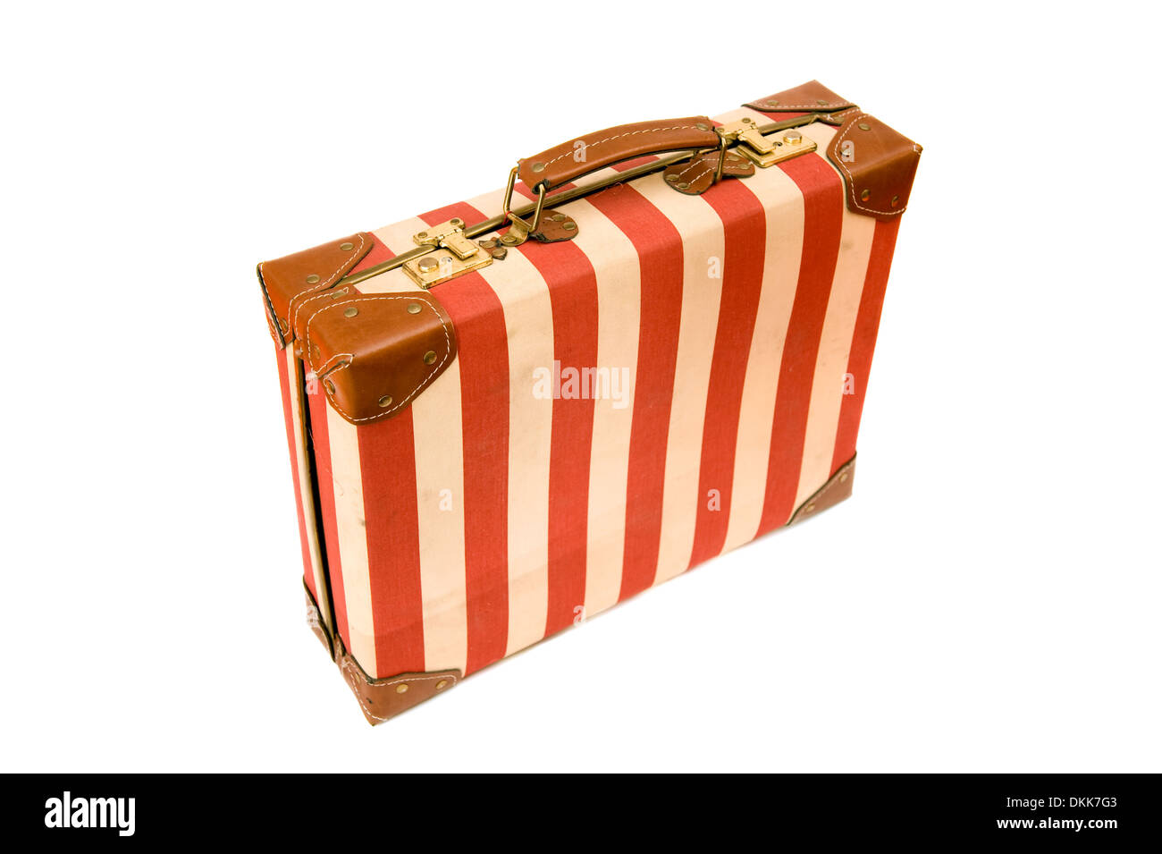 Vintage suitcase isolated on white - Stock Image