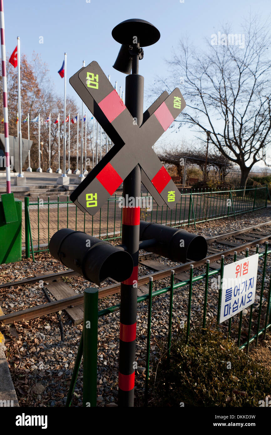 Railroad crossing sign - South Korea - Stock Image