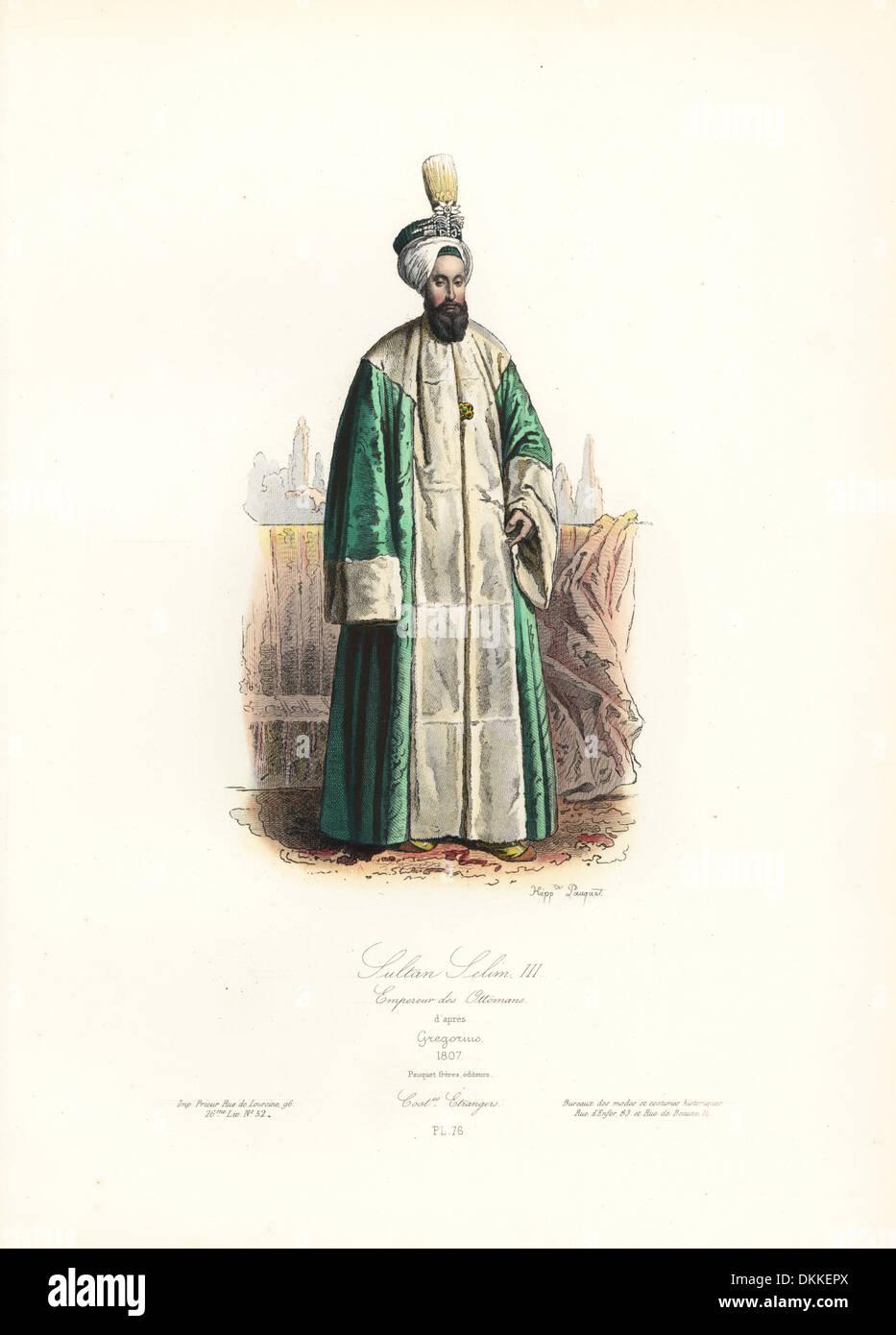 Sultan Selim III, Ottoman Emperor, 1807, after Gregorius. - Stock Image