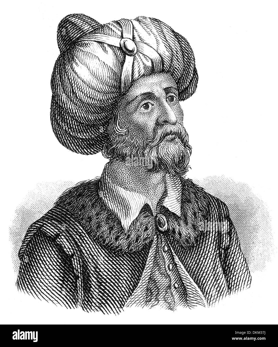 Portrait of Muhammad or Abū al-Qāsim Muḥammad ibn ʿAbd Allāh ibn ʿAbd al-Muṭṭalib ibn Hāshim, c. 570 - 632, the founder of Islam - Stock Image