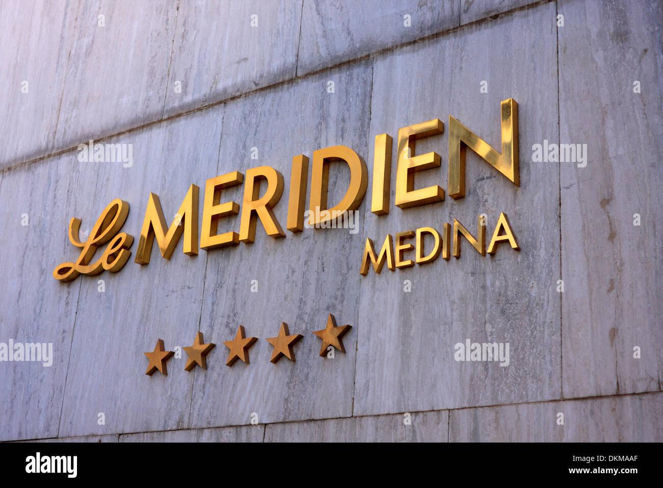 Sign of the Hotel Meridien in Medina, Kingdom of Saudi Arabia - Stock Image