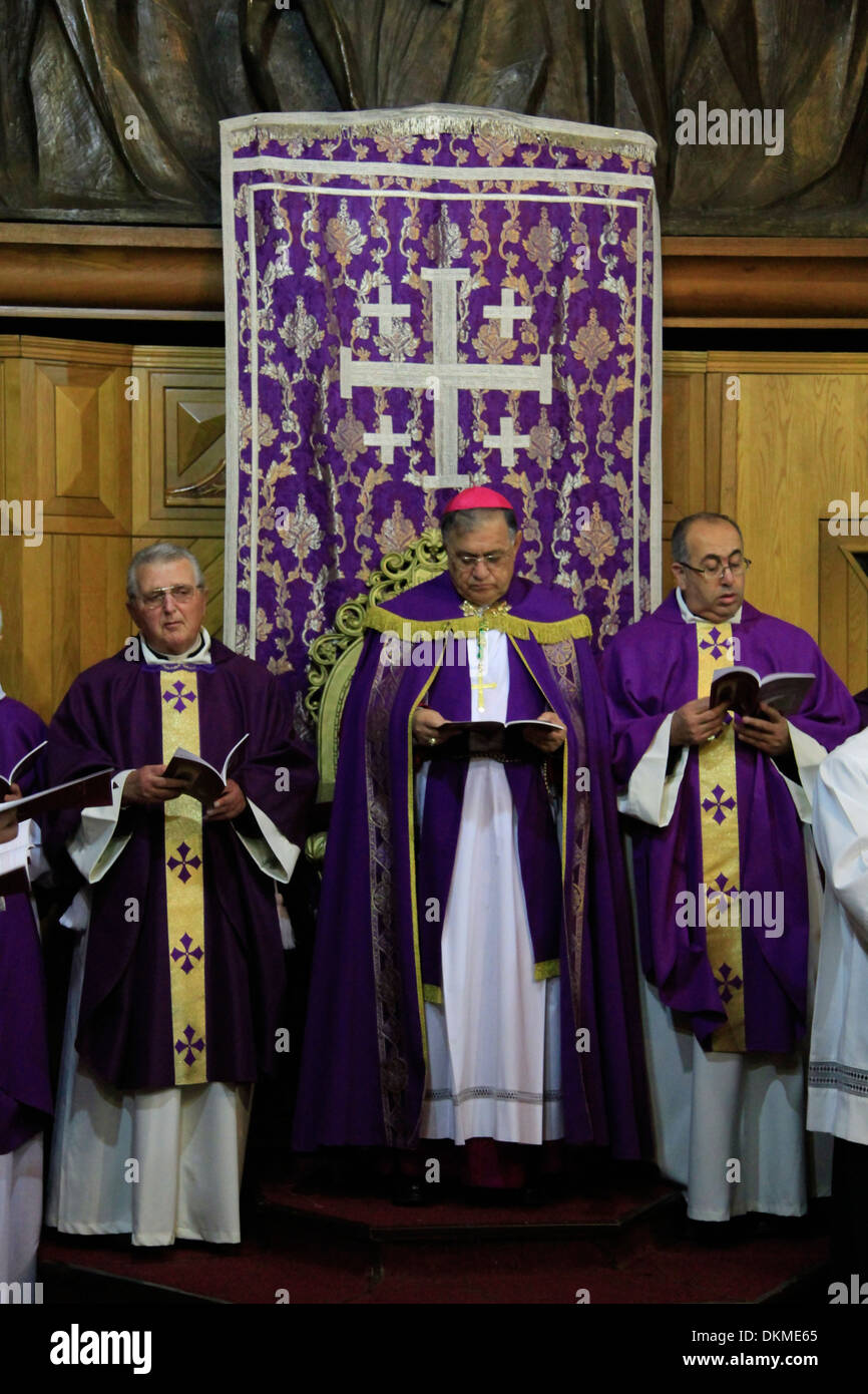 Latin Patriarch of Jerusalem Fouad Twal offers Mass on the First Sunday of Lent - Stock Image