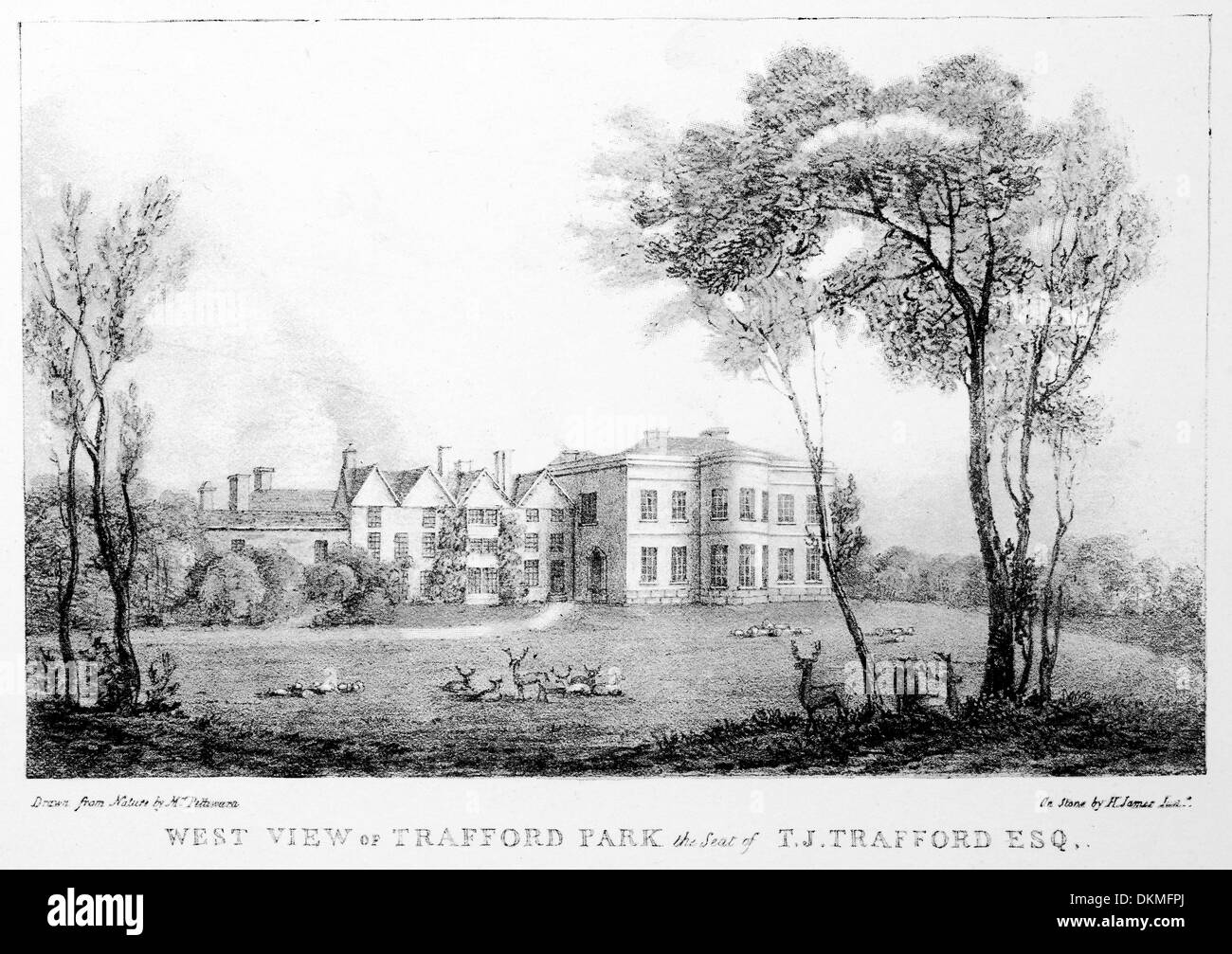 Copy of Lithographic print made in 1820 of Manchester West view of Trafford Park The Seat of T.J. Trafford Esquire - Stock Image