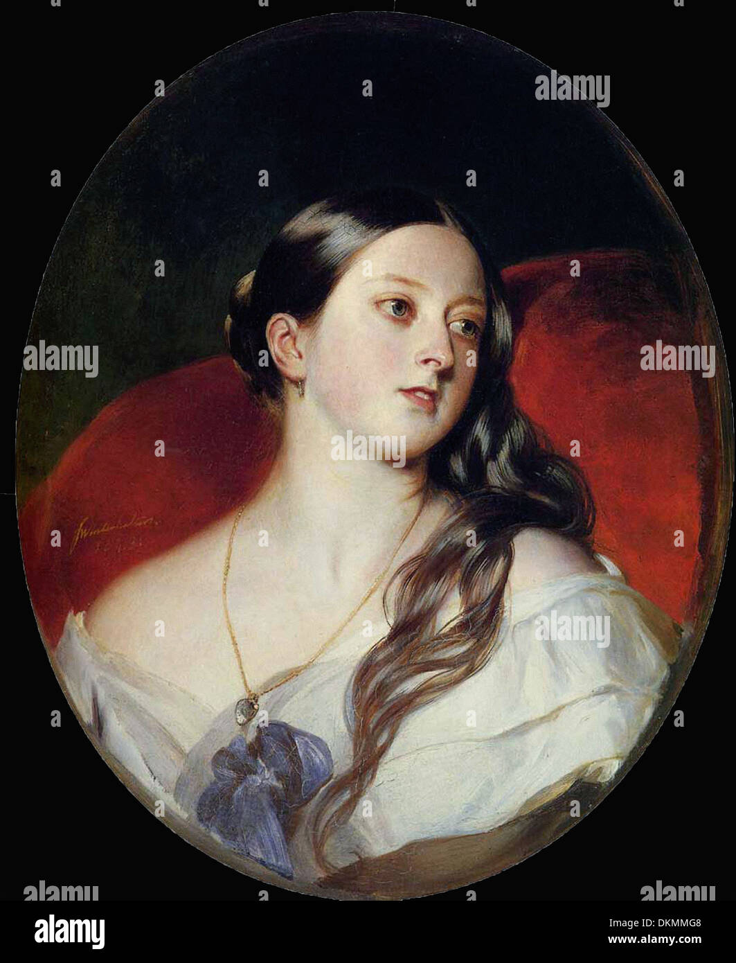 Franz Xaver Winterhalter - Portrait of young Queen Victoria - Stock Image