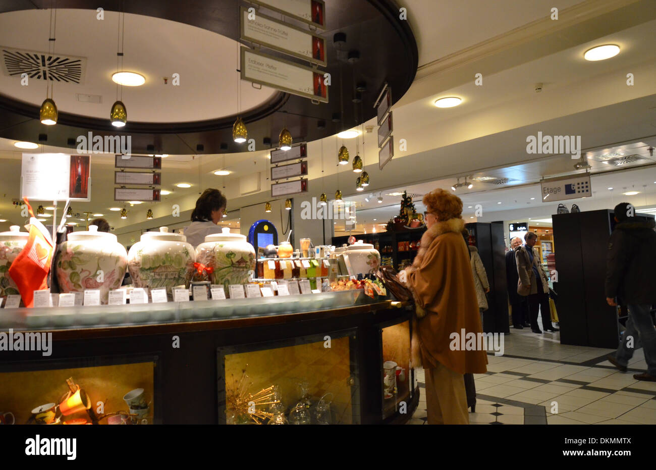 Berlin, Kaufhaus des Westens, KdW, Christmastime, at a counter - Stock Image
